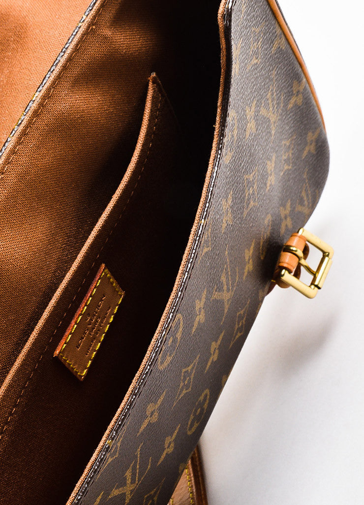 "Louis Vuitton Brown and Tan Coated Canvas Leather Monogram ""Marelle Sac a Dos"" Bag Interior"