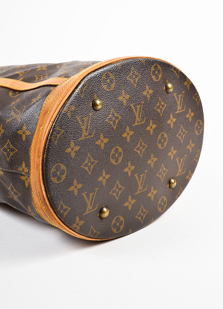 "Louis Vuitton Brown and Tan Monogram Coated Canvas ""Bucket"" Shoulder Bag Bottom View"