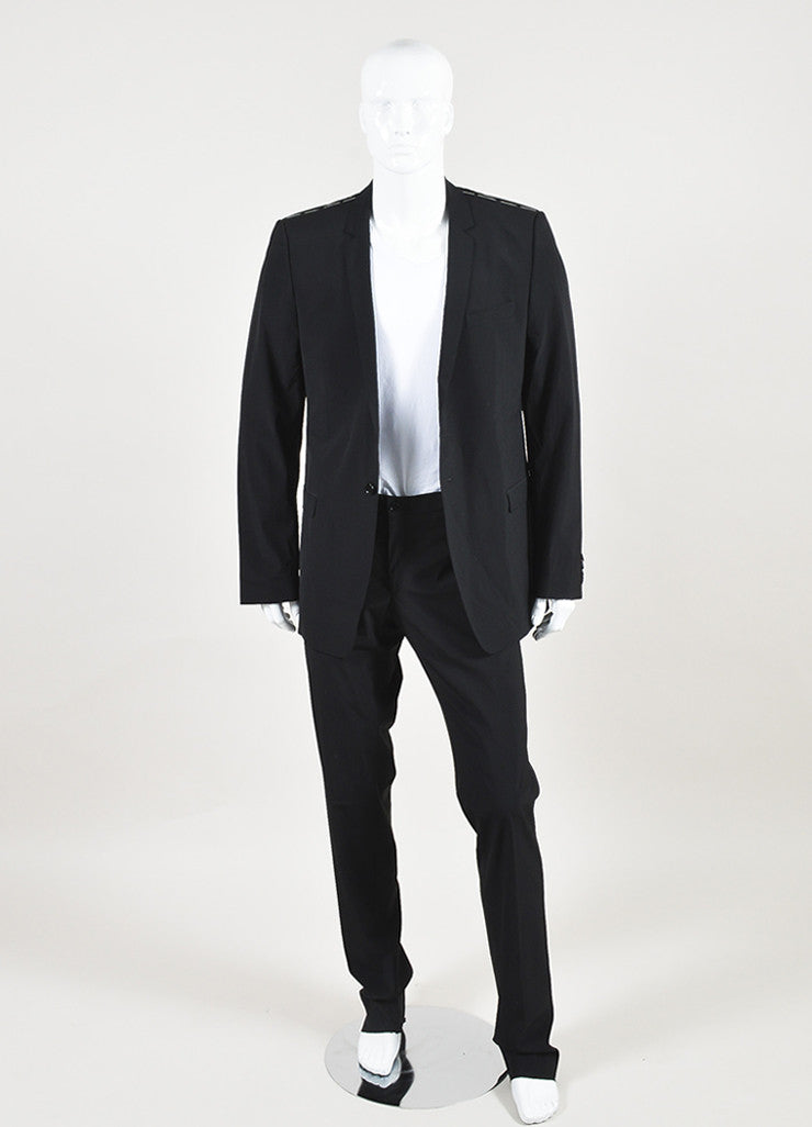 Men's Dolce & Gabbana Black Wool Slim Leg Suit Front