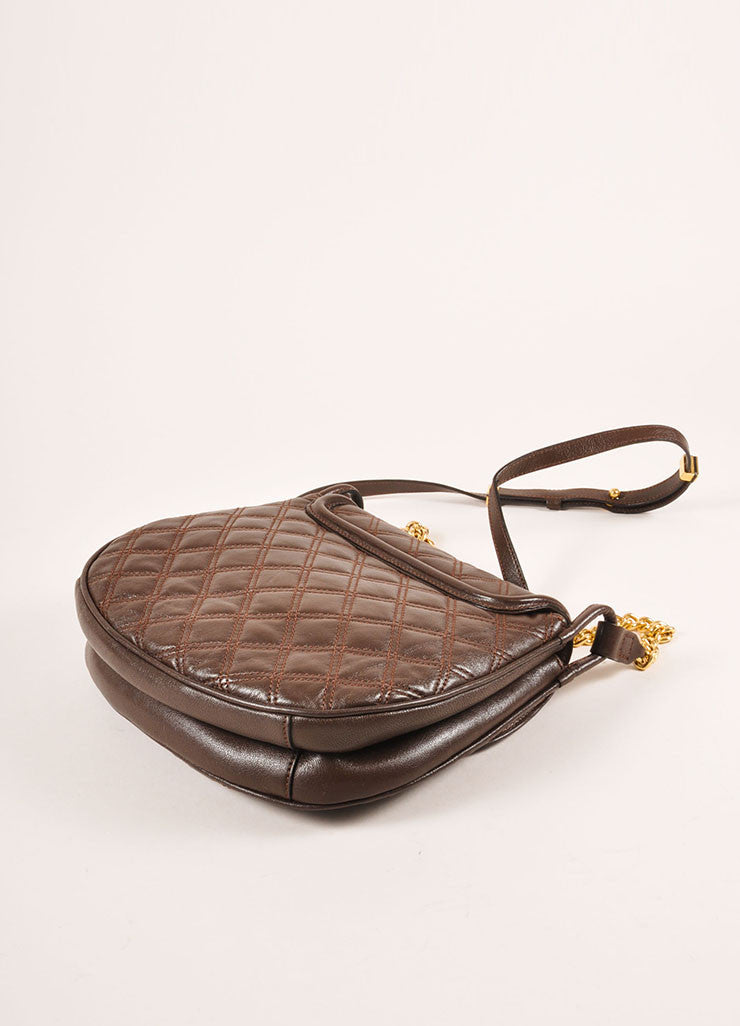 Marc Jacobs Brown and Gold Toned Leather Quilted Flap Crossbody Bag Backview