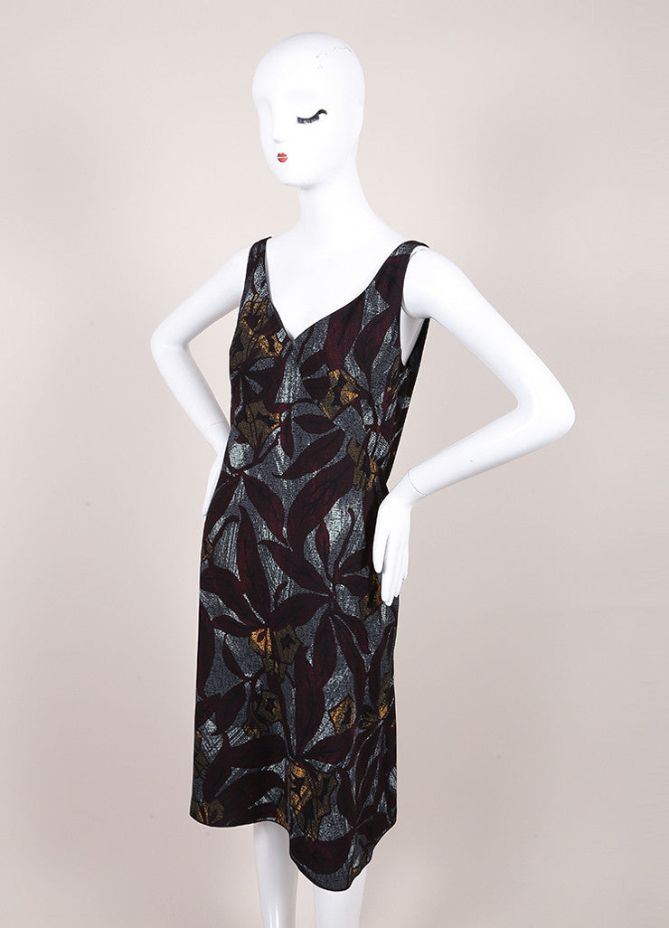 Marc Jacobs New With Tags Multicolor Crepe Graphic Leaf Print Sleeveless Sheath Dress Sideview