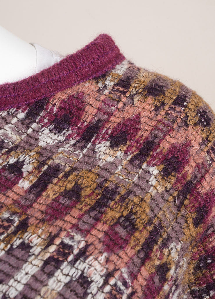 Missoni Purple and Multicolor Abstract Pattern Knit Mohair and Wool Poncho Detail