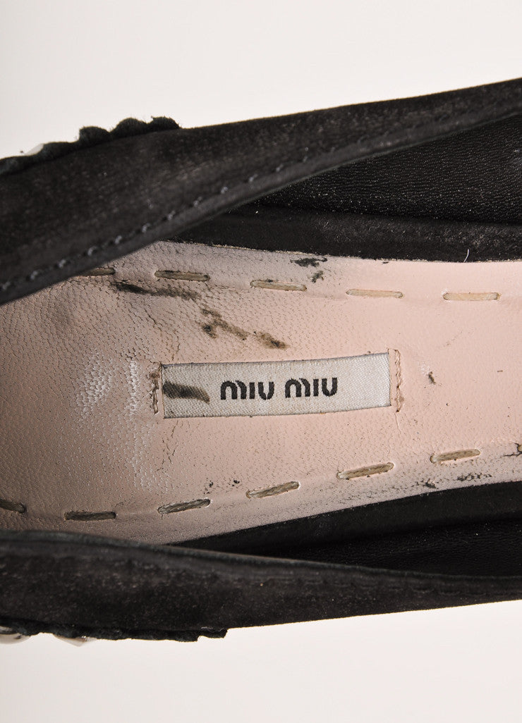 Miu Miu Black and Silver Suede Studded Peep Toe Platform Pumps Brand