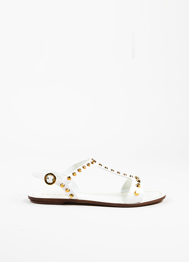 Prada White Patent Leather Gold Toned Studded Flat T-Strap Sandals Sideview