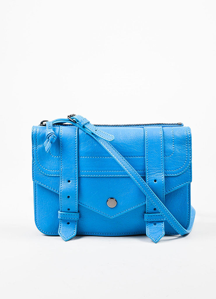 "Proenza Schouler Blue Leather ""PS1 Wallet Crossbody"" Bag Frontview"