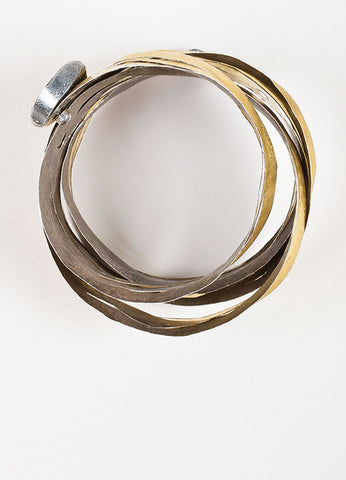18K Yellow Gold and Sterling Silver Reiko Ishiyama Cut Out Spiral Wrap Bracelet Topview