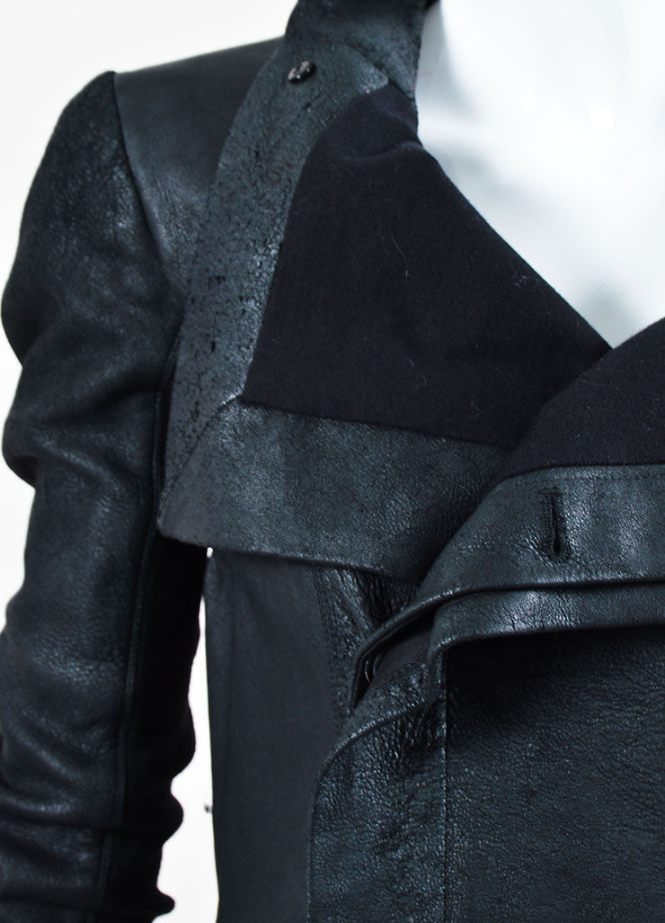 Black Rick Owens Leather Distressed Knit Jacket Detail