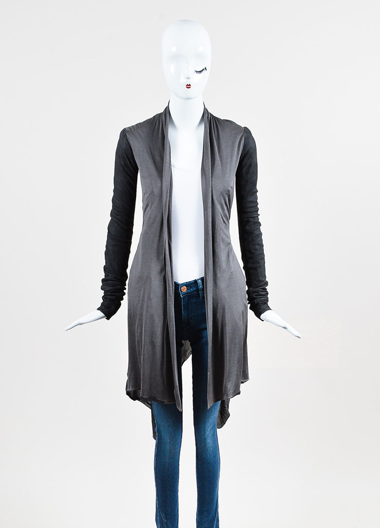 "Rick Owens ""Darkshadow"" Grey Silk and Leather Paneled Jacket  Frontview"