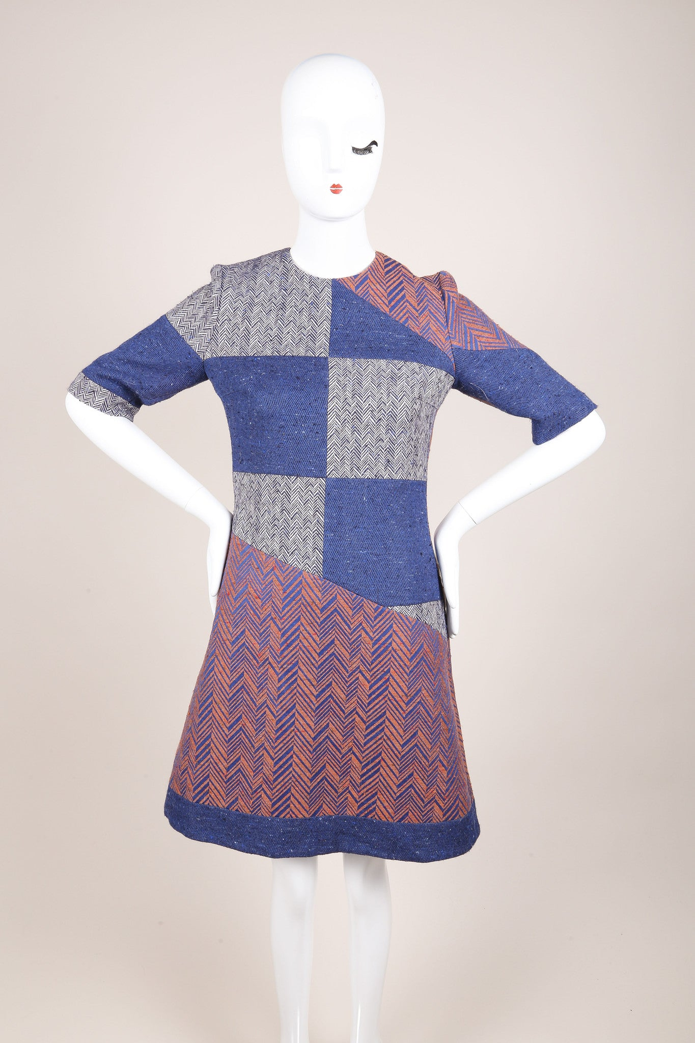 Roksanda New With Tags Blue, White, and Copper Herringbone Sheath Dress Frontview