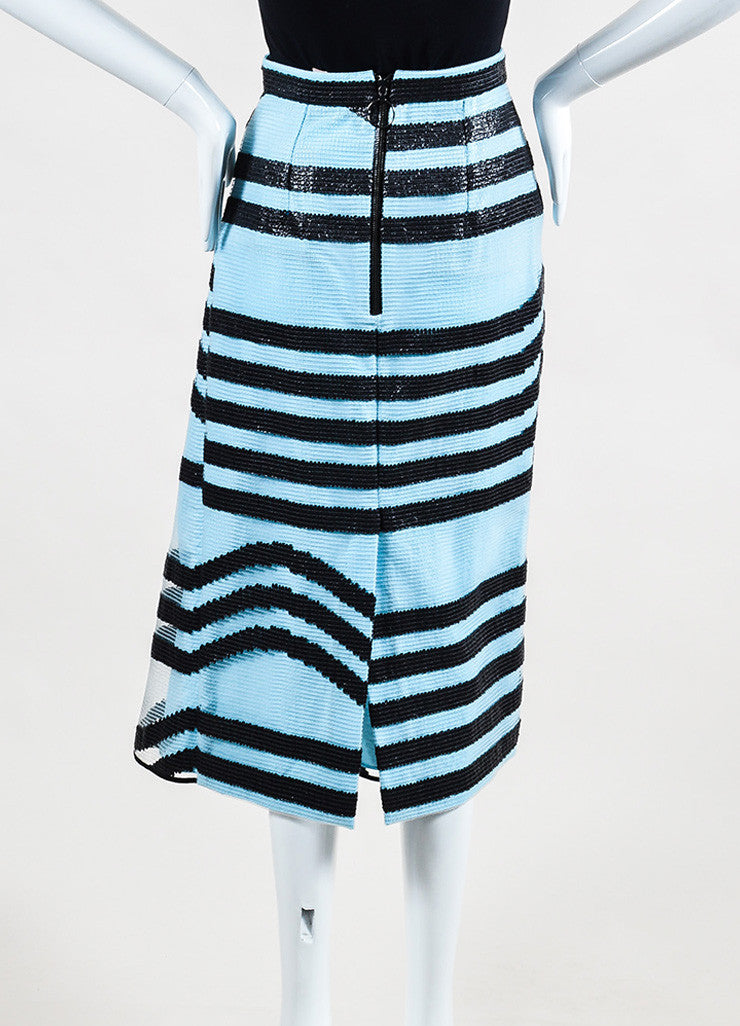 Sky Blue & Black Roksanda Textured PVC Stripe Angled Hem Skirt Back
