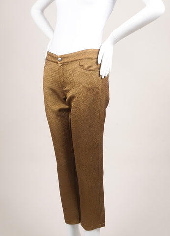 Roseanna New With Tags Metallic Gold Textured Slim Pants Sideview