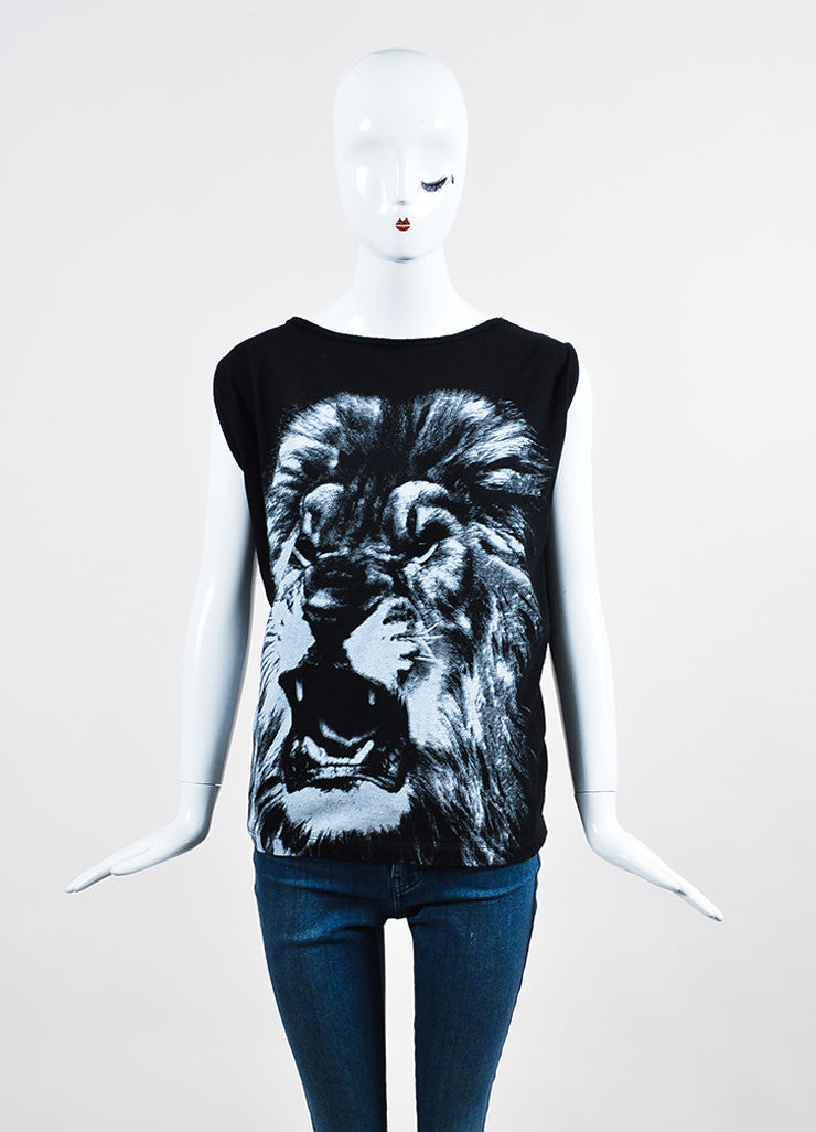 Black and Grey Stella McCartney Cotton Silk Lion Print Cutoff Tank Top Frontview