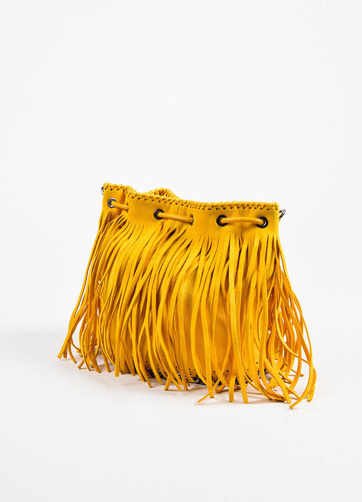 "Stella McCartney Yellow Shaggy Deer ""Sun Falabella"" Fringe Bucket Bag Sideview"