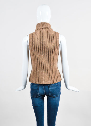 The Row Tan Chunky Knit Turtleneck Sleeveless Sweater Backview