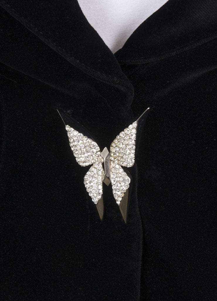 Thierry Mugler Black Velvet Rhinestone Butterfly Embellishment Skirt Suit Detail