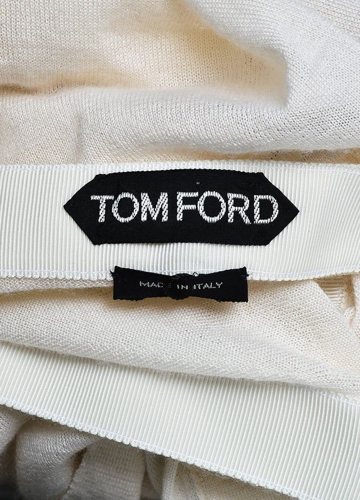 Tom Ford Cream Peg Buttoned V-Neck Lightweight Cardigan Sweater Brand