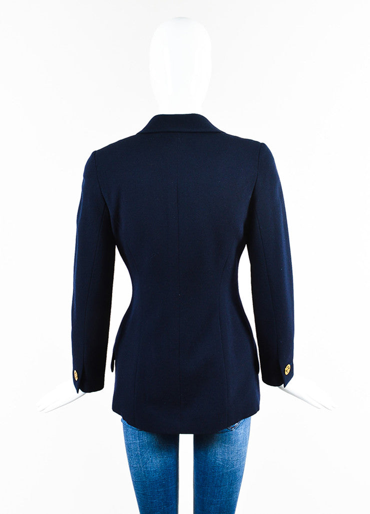 Chanel Navy and Gold Toned Wool and Silk 'CC' Button Blazer Backview