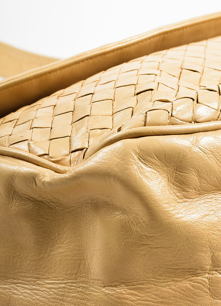 Bottega Veneta Cream Woven Leather Saddle Bag Detail