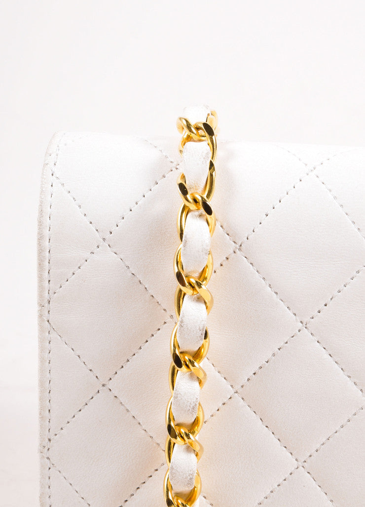 "Chanel Cream Leather Quilted ""CC"" Chain Strap Shoulder Bag Detail 2"