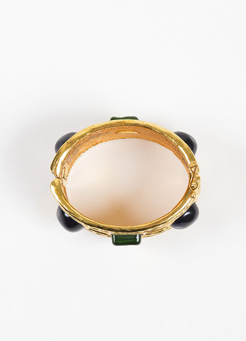 Chanel Gold Toned Hammered Blue and Green Stone Embellished Cuff Bracelet Topview