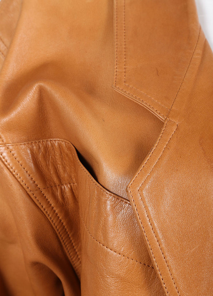 Claude Montana Cognac Leather Oversized Long Jacket Detail