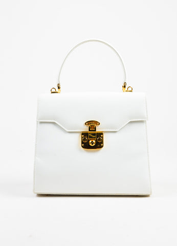 "White Gucci Gold Tone Leather ""Kelly"" Satchel Bag Front"