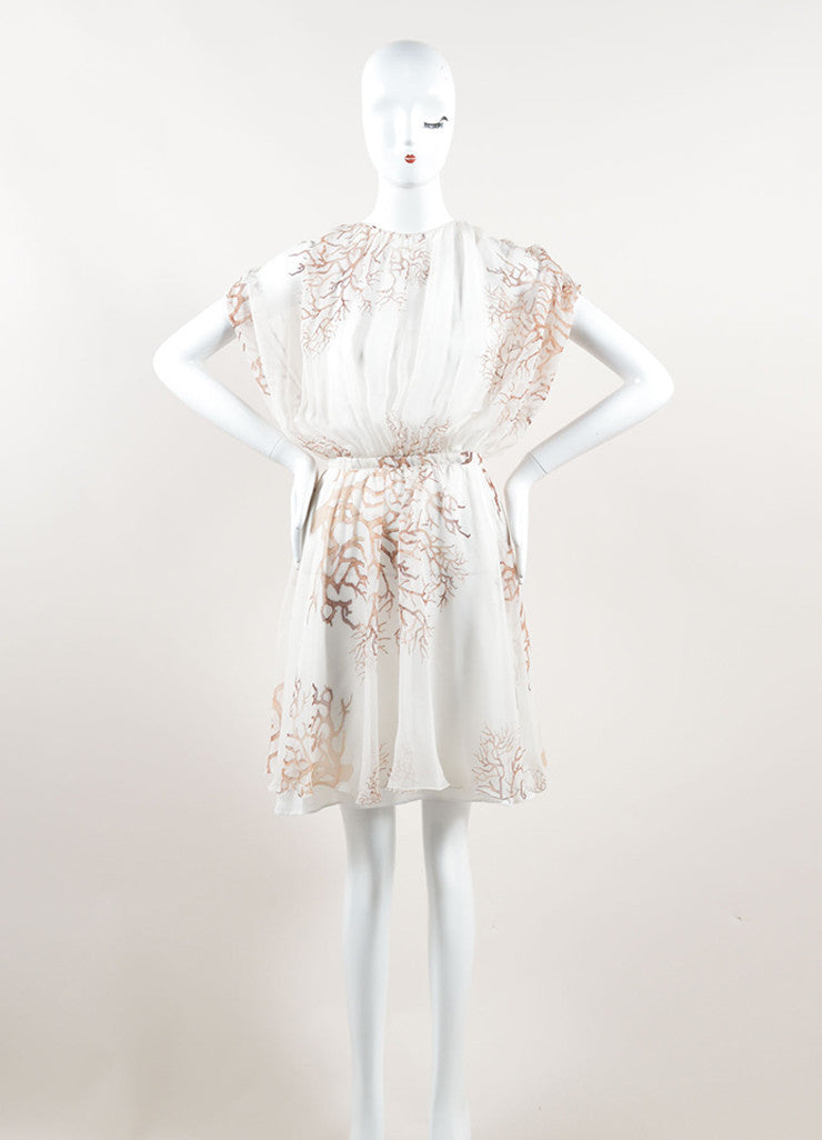 Valentino Cream and Brown Silk Chiffon Coral Print Sleeveless Sheer Dress Frontview