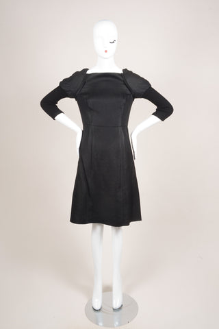 Vera Wang Black Zig Zag Mattelasse Combo Juliet Sleeve Sheath Dress Frontview