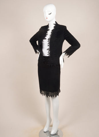 Versace Black Wool Blend Lace Long Sleeve Jacket and Pencil Skirt Suit Sideview
