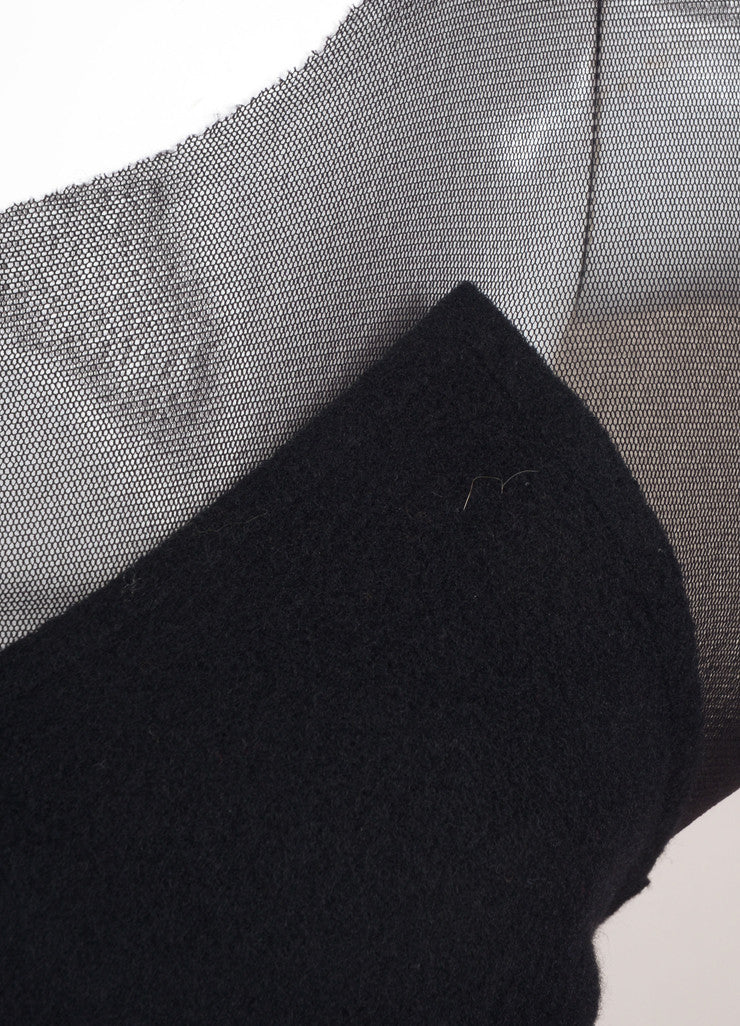 Yohji Yamamoto Black Wool Mesh Long Sleeve Handkerchief Hem Dress Detail