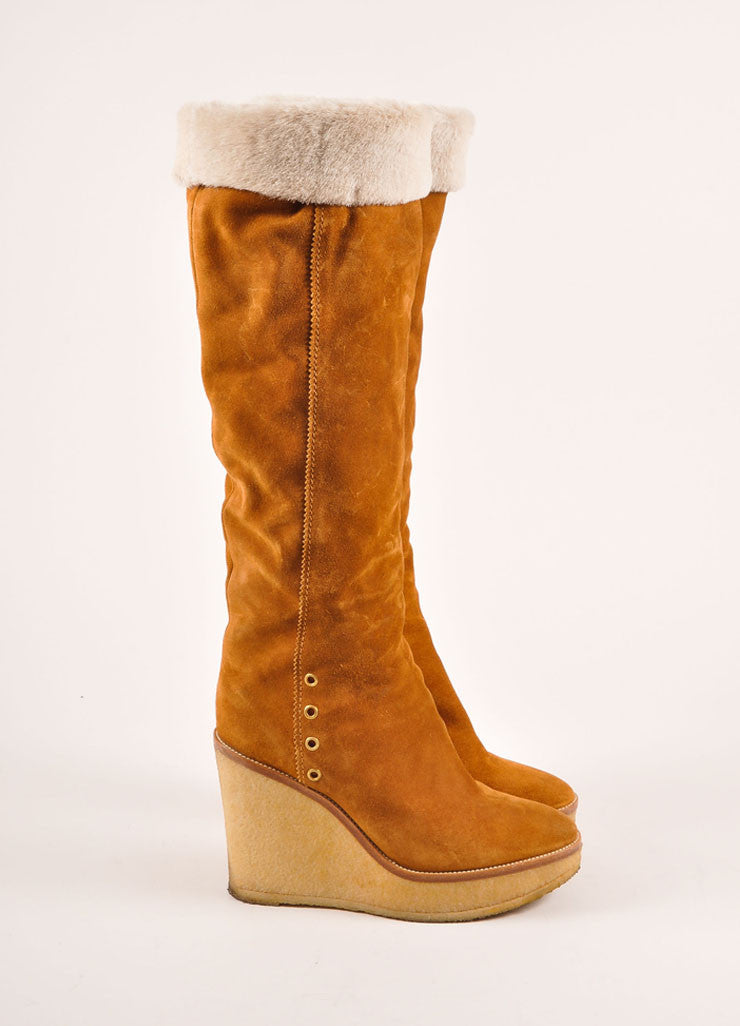 "Yves Saint Laurent Tan Suede and Shearling ""Ida"" Knee High Wedge Boots Sideview"