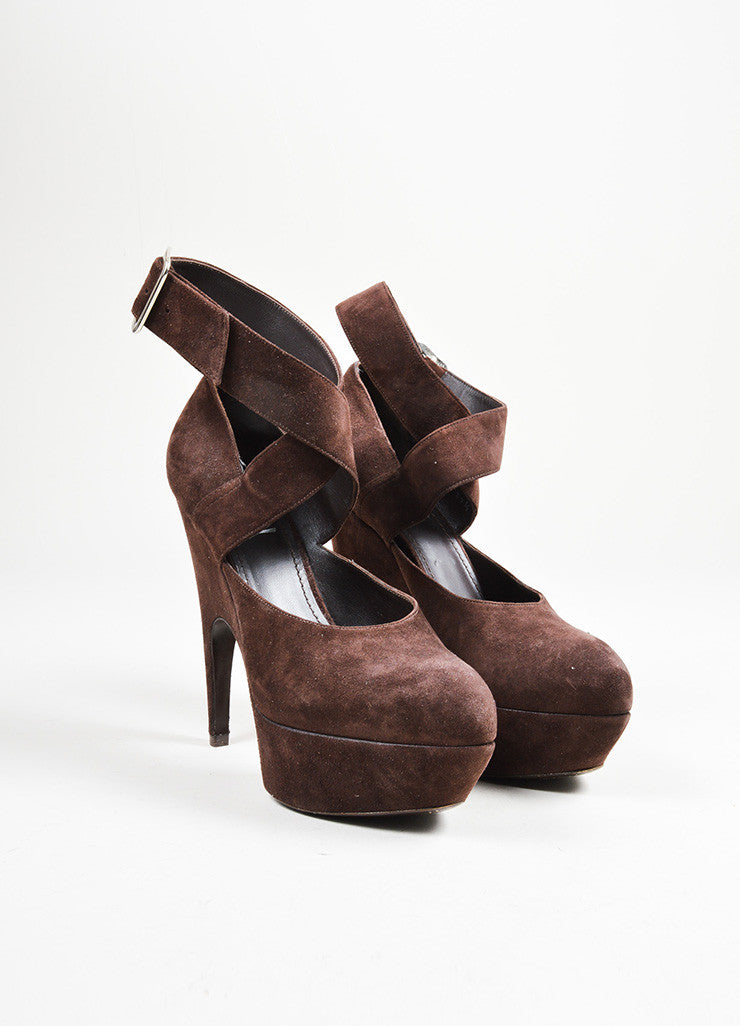 Brown Suede Yves Saint Laurent Ankle Wrap Pumps Front