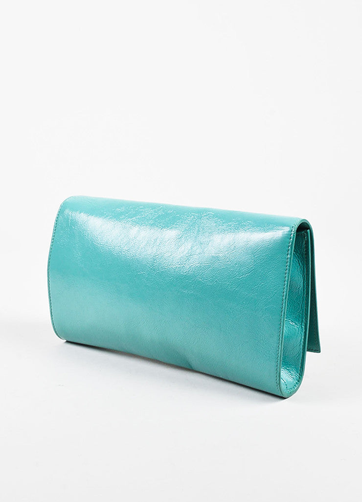 "Yves Saint Laurent Robin's Egg Blue Patent Leather 'YSL' ""Belle Du Jour"" Clutch Bag Sideview"