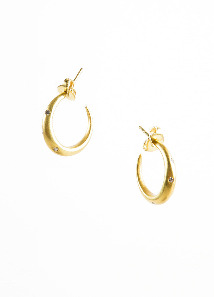 18K Gold and Diamond Small Open Hoop Earrings Frontview