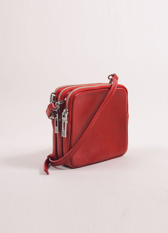 A.L.C. Red Leather Three Zip Pouch Cross Body Bag Sideview