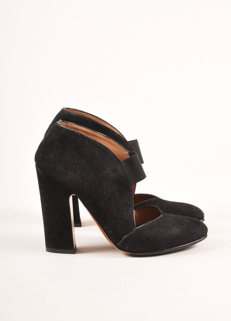 Alaia Black Suede Elastic Strap Chunky Heels Sideview