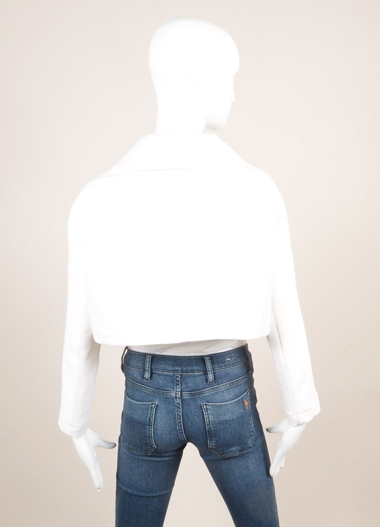 Alaia White Cotton Ribbed Wide Cropped Jacket Backview