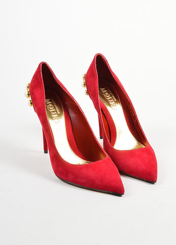 Red Suede Alexander McQueen Faux Pearl Stud Pumps Frontview