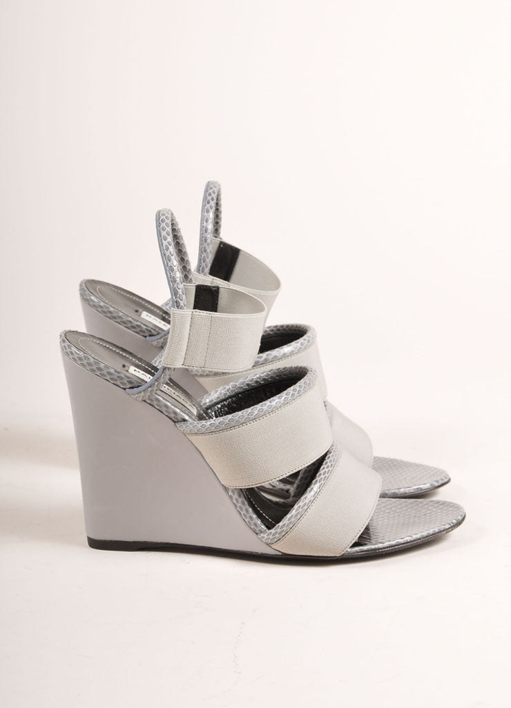 Balenciaga New In Box Grey Elastic Snakeskin Leather Trim Wedge Sandals Sideview