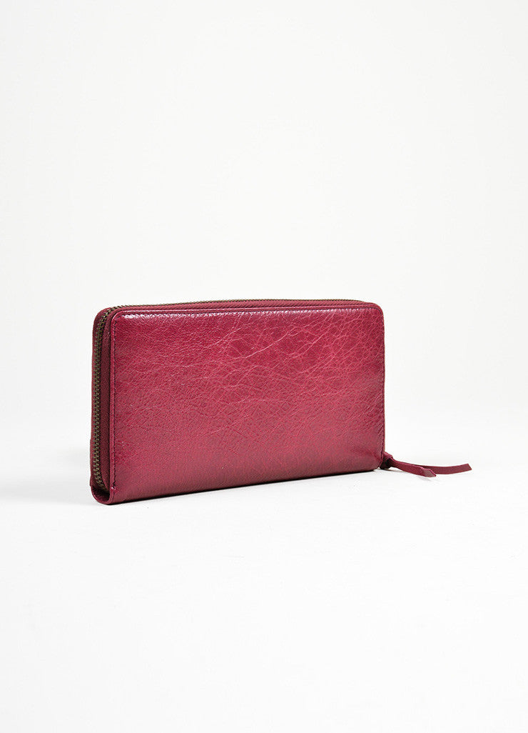 Maroon Red Leather Classic Continental Zip Around Wallet Backview