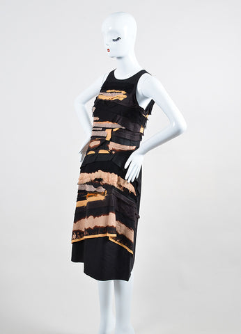 Black and Multicolor Bottega Veneta Frayed Tier Sleeveless Dress Sideview