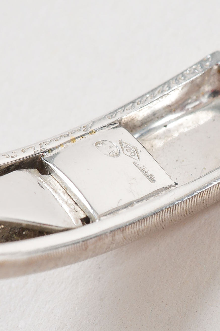 "18K White Gold and Diamond Station Small Buccellati 18K White Gold Diamond Station Small ""Classica"" Cuff Bracelet ""Classica"" Cuff Bracelet Brand"