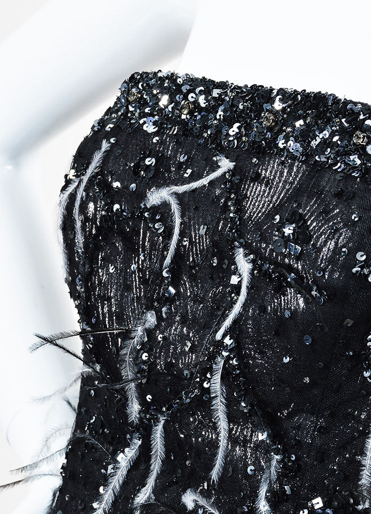 Carolina Herrera Black and Gunmetal Jacquard Sequin Feather Strapless Gown Detail