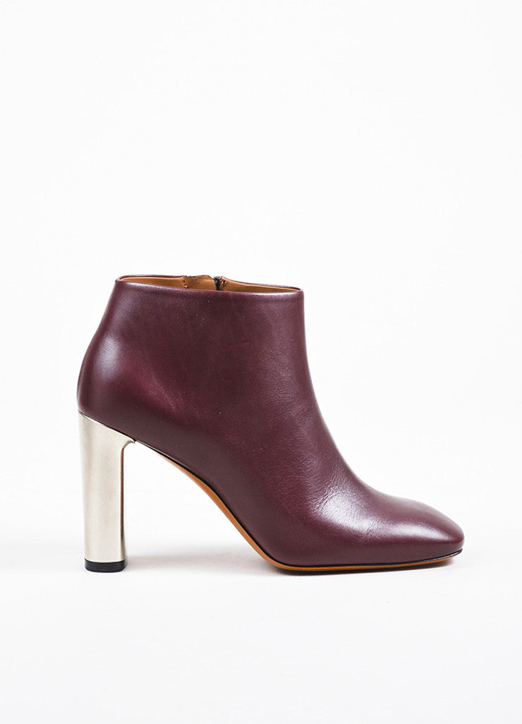 Celine Burgundy Leather Silver Toned Chunky Heel Ankle Boots Sideview