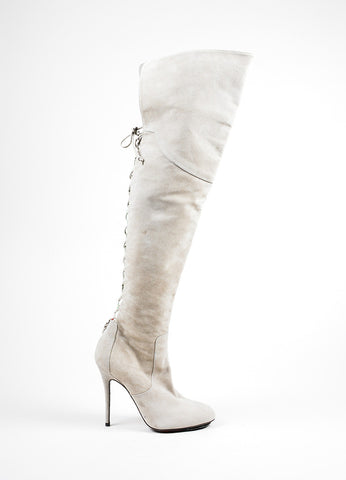 Grey Cesare Paciotti Suede Lace Up Over The Knee Boots Sideview