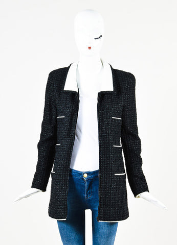 Chanel Black and White Metallic Tweed Zip Up Long Sleeve Jacket  Frontview