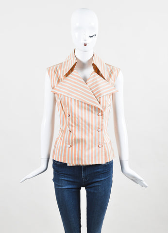 Chanel Orange, Blue, and Cream Silk Striped Double Breasted Sleeveless Blouse Frontview
