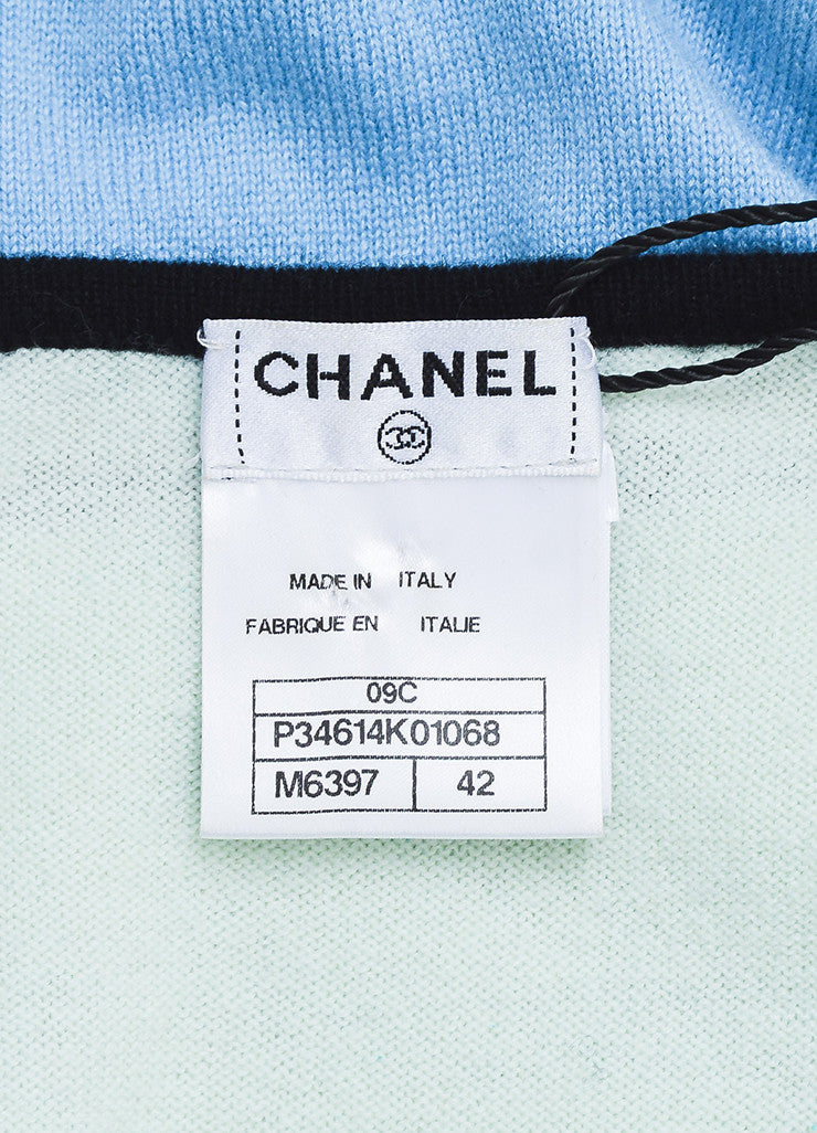 Chanel Mint Green, Light Blue, and Black Cashmere 'CC' Sleeveless Sweater Dress Brand