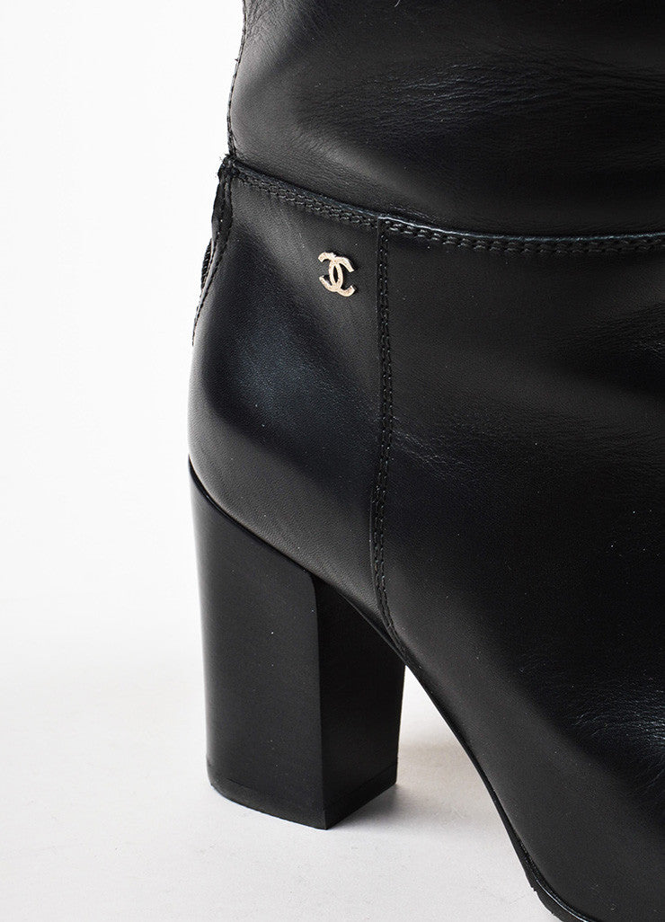 Chanel Black Leather 'CC' Detail Calf High Zipped Riding Boots Detail