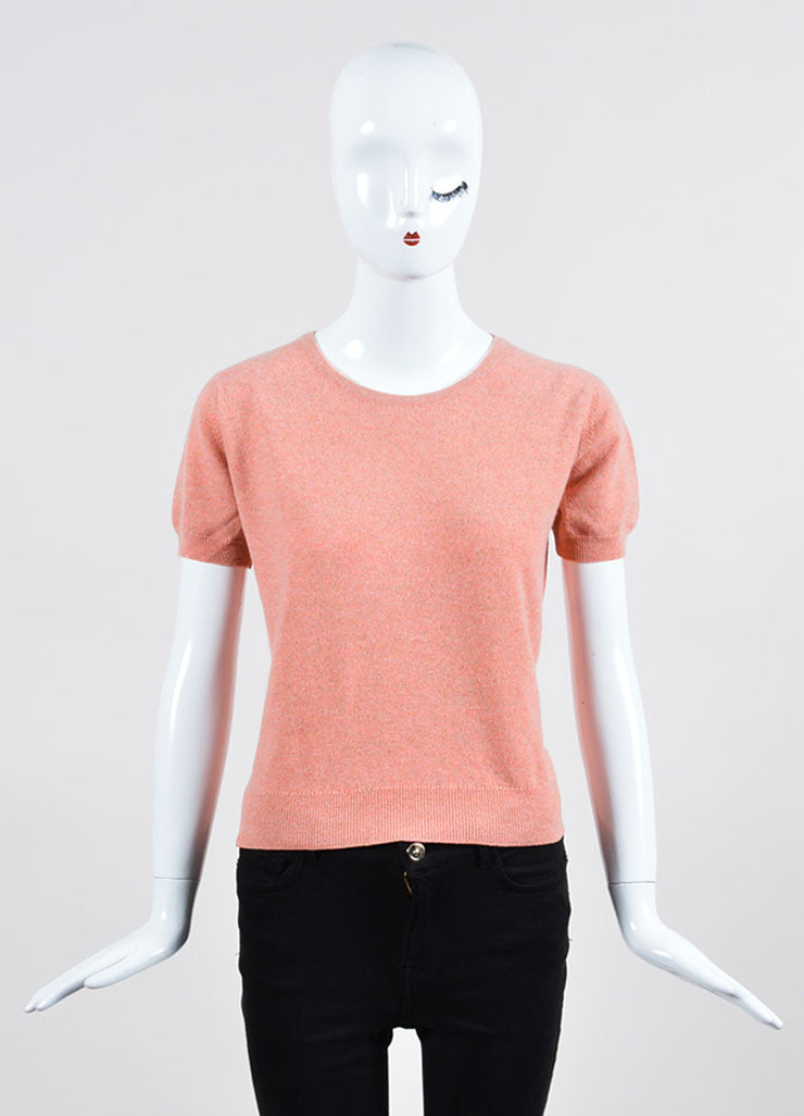 Salmon Pink Chanel Cashmere Sweater and Top Twin Set  Frontview 2